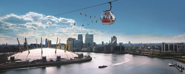 Emirates Airline over The O2 Arena, The Thames, London