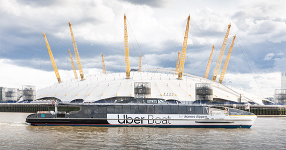 River Bus in front of The O2 arena